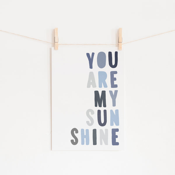 You Are My Sunshine - Navy & Blues |  Unframed