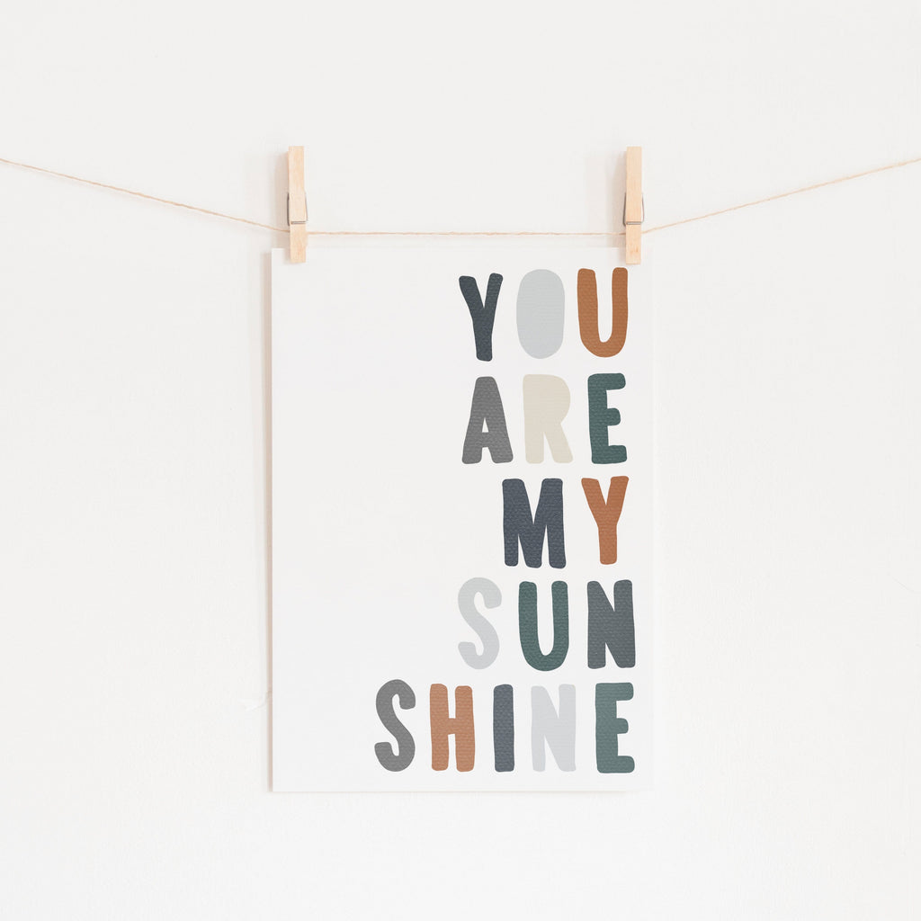 You Are My Sunshine - Navy & Brown |  Unframed