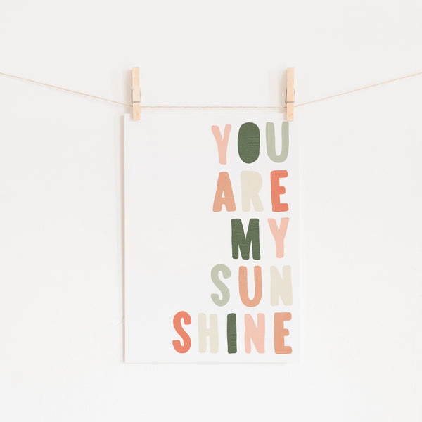 You Are My Sunshine - Blush & Green |  Unframed