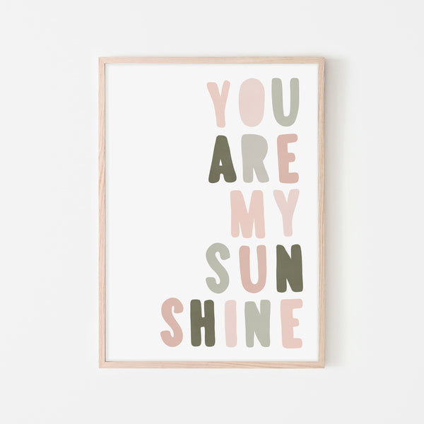 You Are My Sunshine - Rose & Sage Green |  Framed Print
