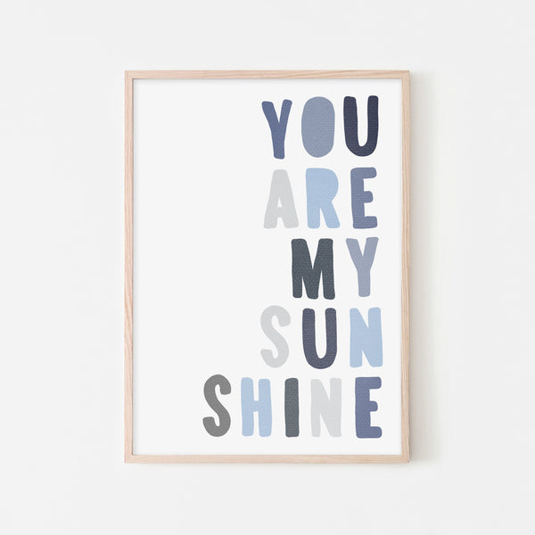 You Are My Sunshine - Navy & Blues |  Framed Print