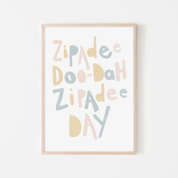 Zipadee Doo Dah - Pink, Yellow, Blue |  Framed Print