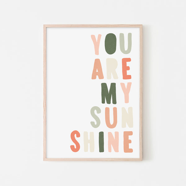 You Are My Sunshine - Blush & Green |  Framed Print