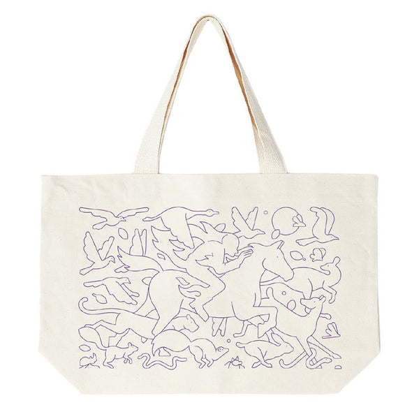 Beige Forest Fire Tote Bag // Natural Sacs Obey