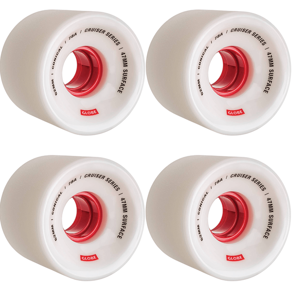 Conical Cruiser Wheel // White/Red // 62mm