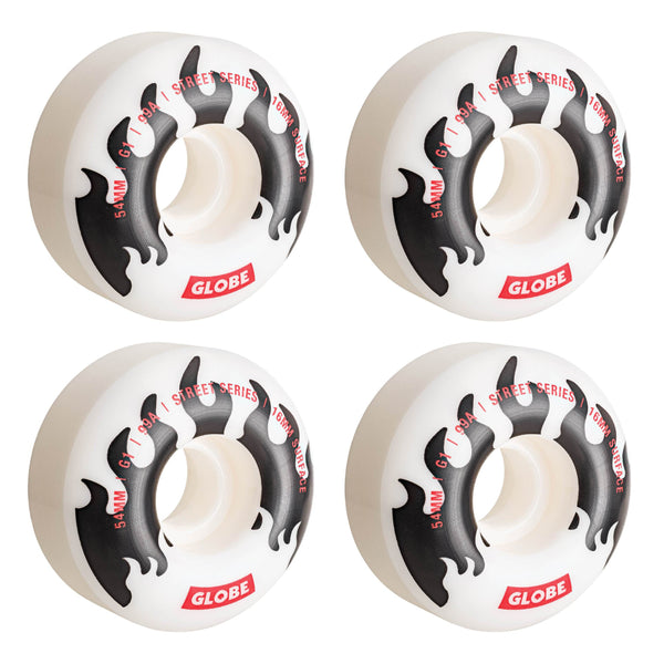 Gray G1 Street Wheel // White/Black/Flames // 54mm Roues Globe
