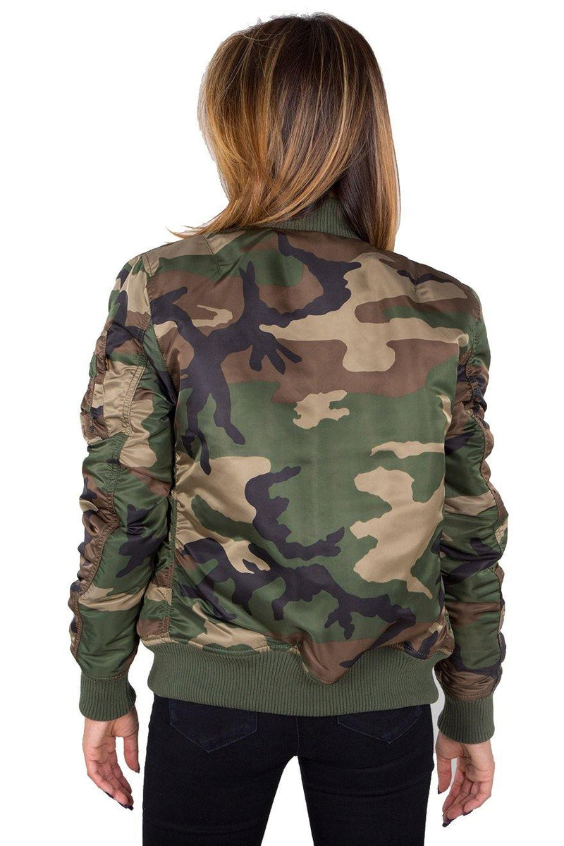 Dark Olive Green MA-1 VF PM Wmn // Wild Camo 65 Vestes Alpha Industries