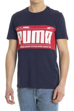 Dark Slate Gray Graphic Logo Block Tee // Peacoat T-shirts Puma