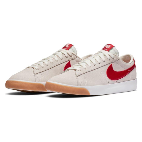 Light Gray Blazer Low GT // Red/White Gum/Light Brown Sneakers Nike SB