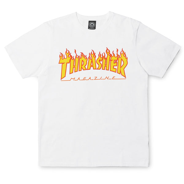White Smoke SS Tee Flame // White T-shirts Thrasher