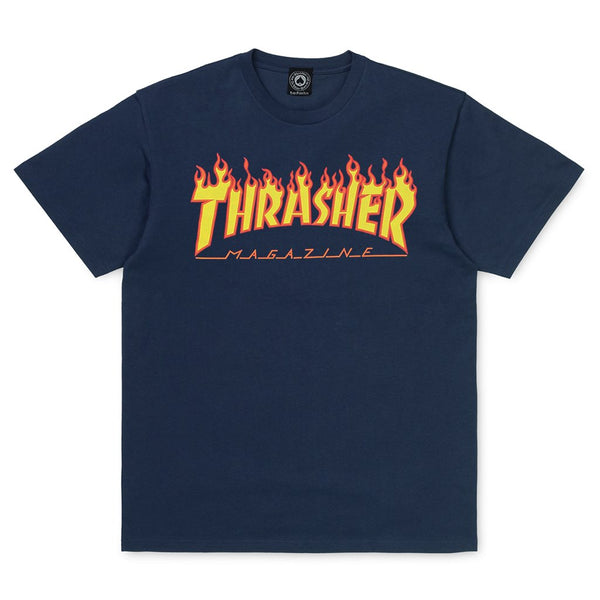 Dark Slate Gray SS Tee Flame // Navy T-shirts Thrasher