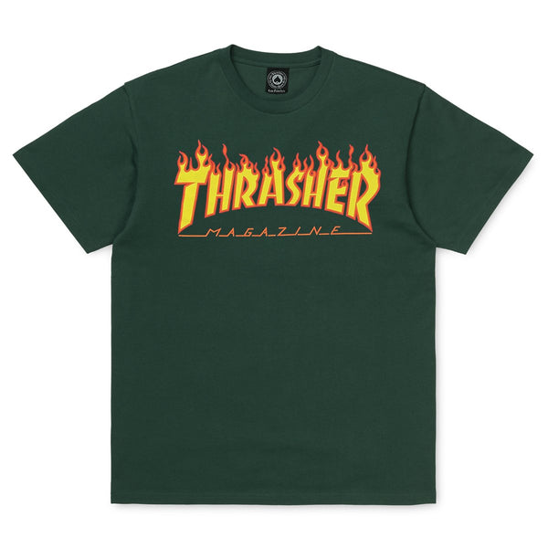 Dark Slate Gray SS Tee Flame // Forest Green T-shirts Thrasher