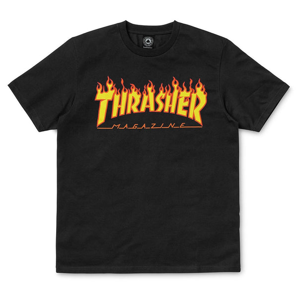 Black SS Tee Flame // Black T-shirts Thrasher