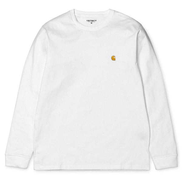 White Smoke LS Chase T-Shirt // White/Gold T-shirts Carhartt WIP