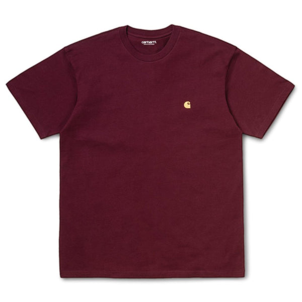 Dark Red SS Chase T-Shirt // Bordeaux/Gold T-shirts Carhartt WIP