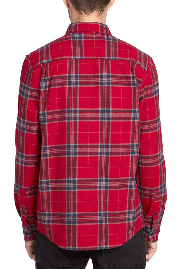 Caden Plaid LS // Engine Red