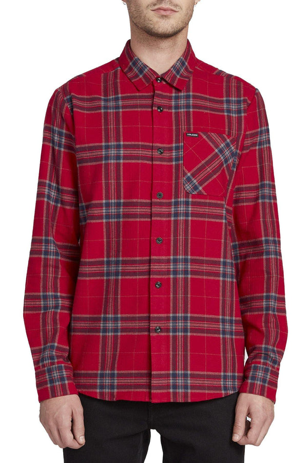 Brown Caden Plaid LS // Engine Red Chemises Volcom