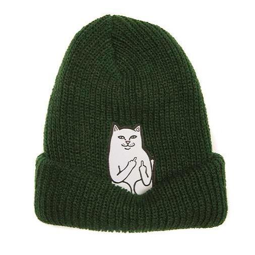 Dark Slate Gray Lord Nermal Ribbed Beanie // Hunter Green Bonnets RipNDip