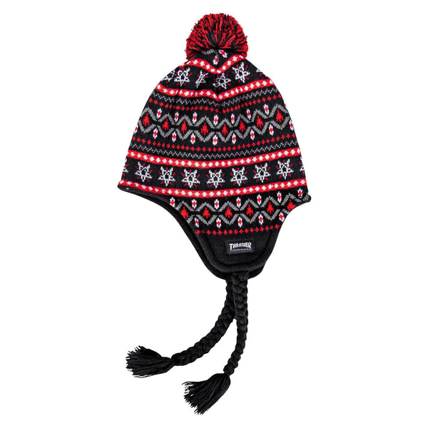 Black Beanie Magazine Logo Sherpa // Black/Red Bonnets Thrasher