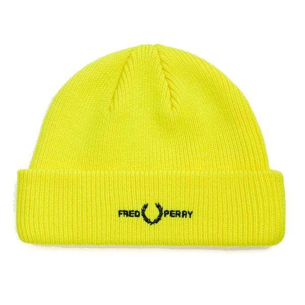 Gold Logo Beanie // Neon Yellow Bonnets Fred Perry
