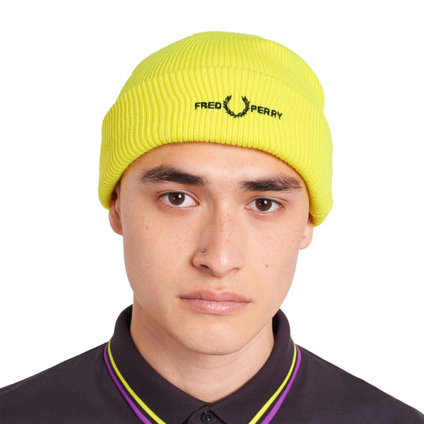 White Logo Beanie // Neon Yellow Bonnets Fred Perry