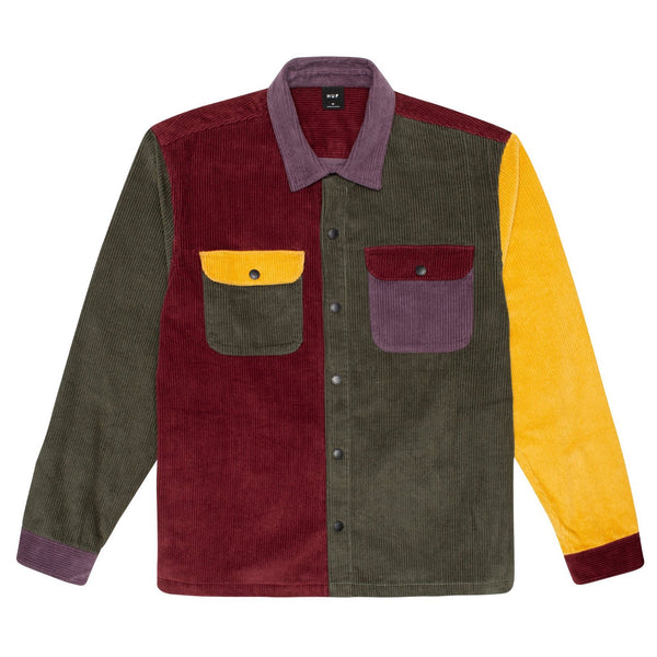 Dark Red Cord Block LS Overshirt // Olive Chemises Huf