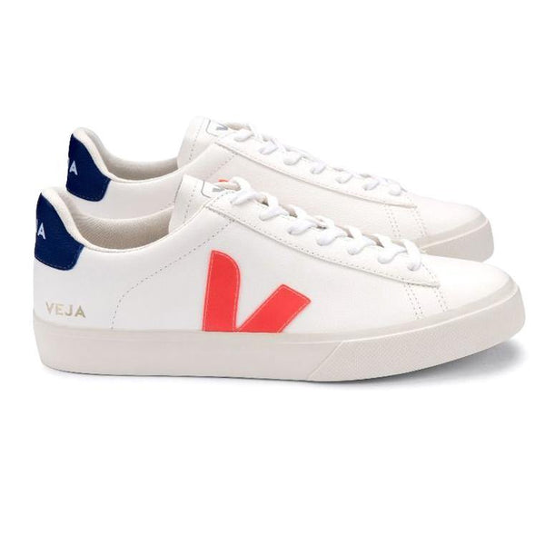 Sneakers - Veja - Campo Chromefree Leather // Extra White/Orange Fluo/Cobalt - Stoemp