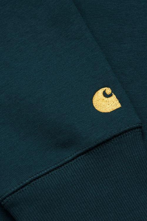 Light Goldenrod Chase Sweat // Duck Blue/Gold Sweats sans capuche Carhartt WIP