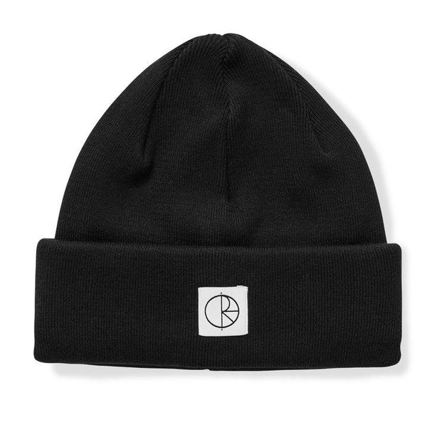 Black Double Fold Cotton Beanie // Black Bonnets Polar