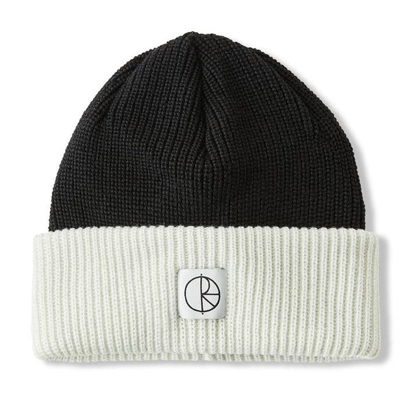 Black Double Fold Merino Beanie // Black/White Bonnets Polar