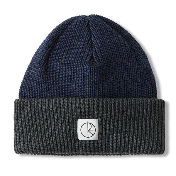 Dark Slate Gray Double Fold Merino Beanie // Navy/Grey Bonnets Polar