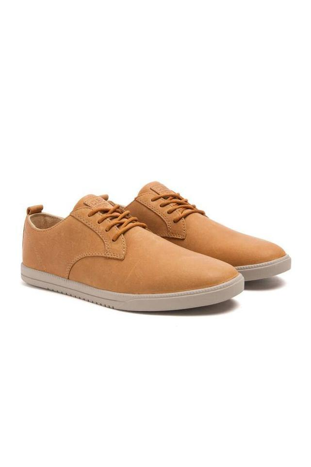 White Ellington Leather // Caramel Leather Sneakers Clae