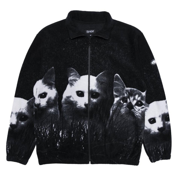 Black Field Of Cats Sherpa Jacket // Black Vestes RipNDip