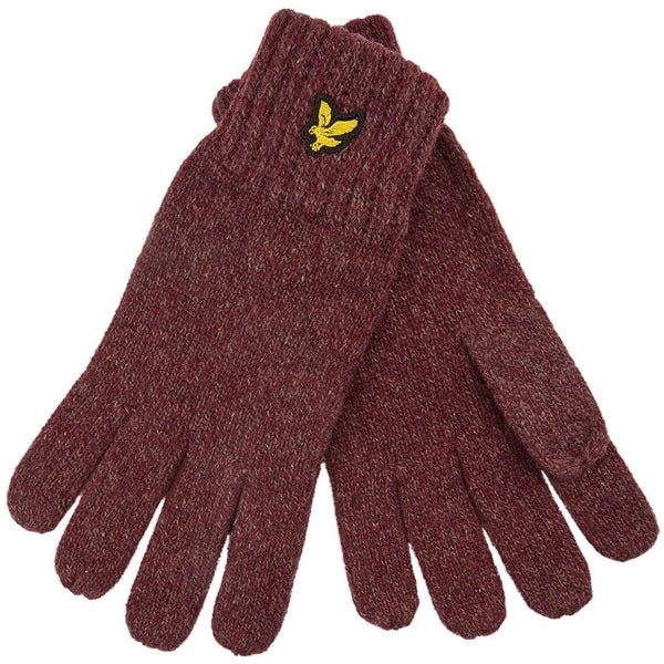 Saddle Brown Mouline Glove // Berry/Burgundy Gants Lyle & Scott