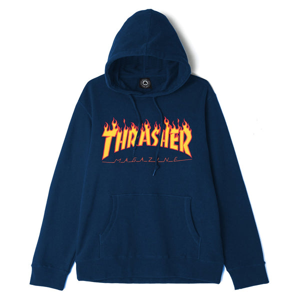 Midnight Blue Thrasher Flame Hoodie // Navy Sweats à capuche Thrasher