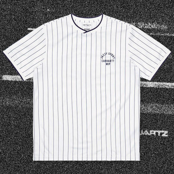 T-shirts - Carhartt WIP - SS Jazzy Sport Jersey // Relevant Parties // White/Navy Stripes - Stoemp