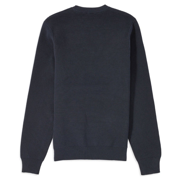 Dark Slate Gray Textured Stripe Jumper // Black Navy Pulls Fred Perry