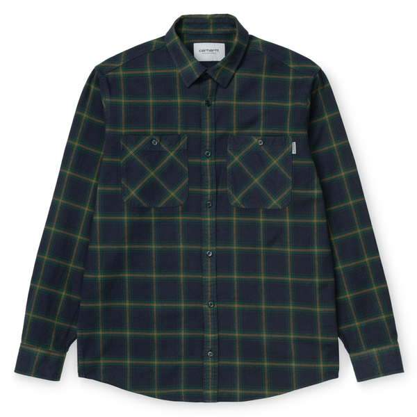 Dark Slate Gray LS Darren Shirt // Bottle Green Chemises Carhartt WIP