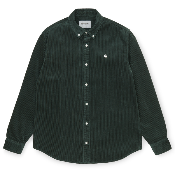 Dark Slate Gray L/S Madison Cord Shirt // Dark Teal/Wax Chemises Carhartt WIP