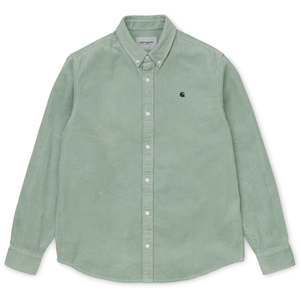 Dark Gray L/S Madison Cord Shirt // Frosted Green/Black Chemises Carhartt WIP