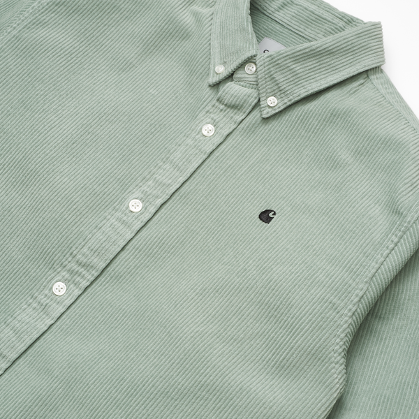 L/S Madison Cord Shirt // Frosted Green/Black Chemises Carhartt WIP