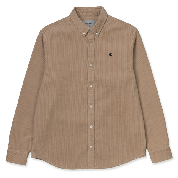 Rosy Brown L/S Madison Cord Shirt // Wall/Black Chemises Carhartt WIP