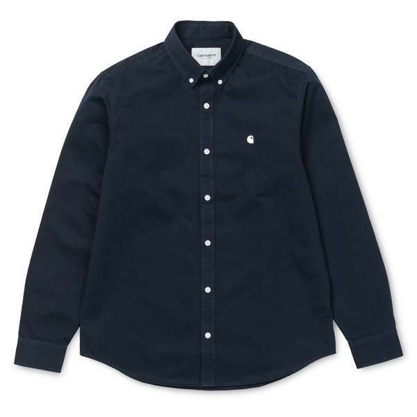 Black LS Madison Shirt // Dark Navy/Wax Chemises Carhartt WIP