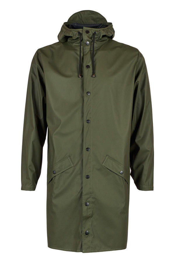 Dark Olive Green Long Jacket // Green Vestes Rains