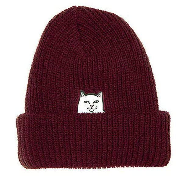 Black Lord Nermal Ribbed Beanie // Burgundy Bonnets RipNDip