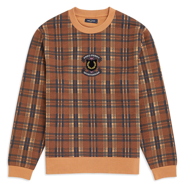 Snow Shield Checked Sweatshirt // Caramel Sweats sans capuche Fred Perry