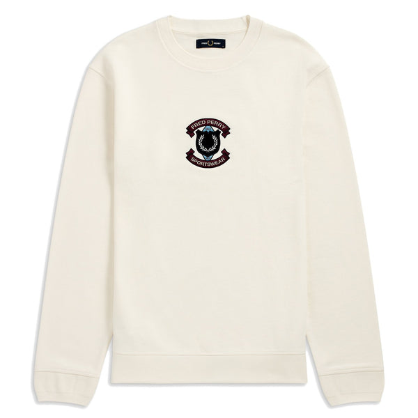 Beige Shield Sweatshirt // Snow White Sweats sans capuche Fred Perry
