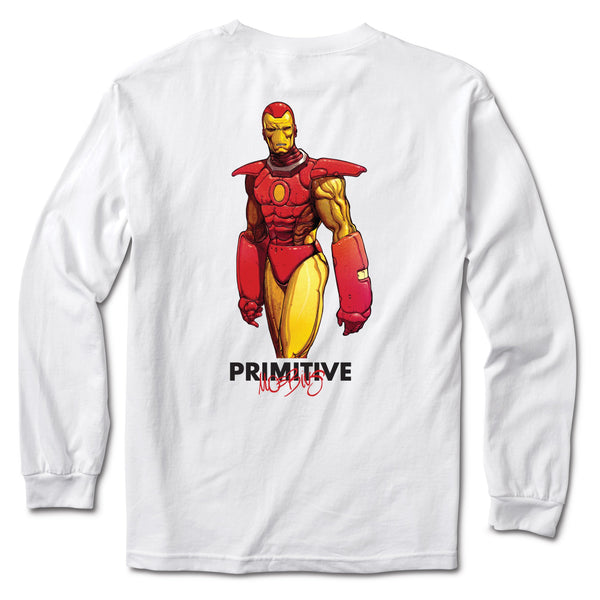 Brown Iron Man LS Tee // White T-shirts Primitive