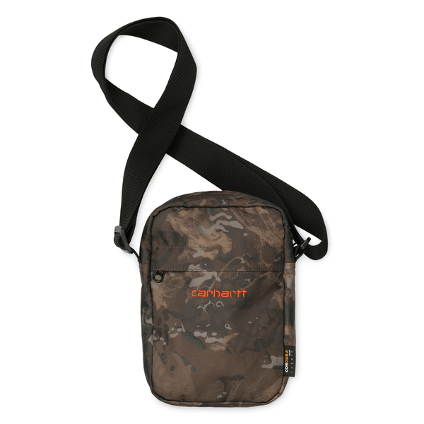 Dark Olive Green Payton Shoulder Pouch // Camo Combi/Safety Orange Sacs Carhartt WIP