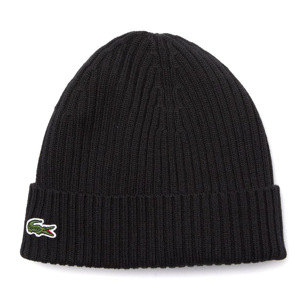 Black Knitted Cap // Black Bonnets Lacoste
